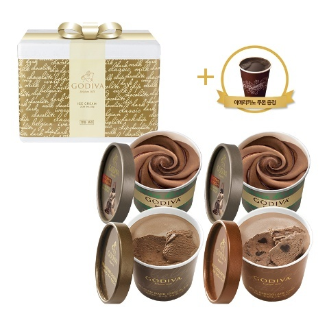 [NEW] 컵 아이스크림 4개 다크&밀크 세트 (+아메리카노 쿠폰)