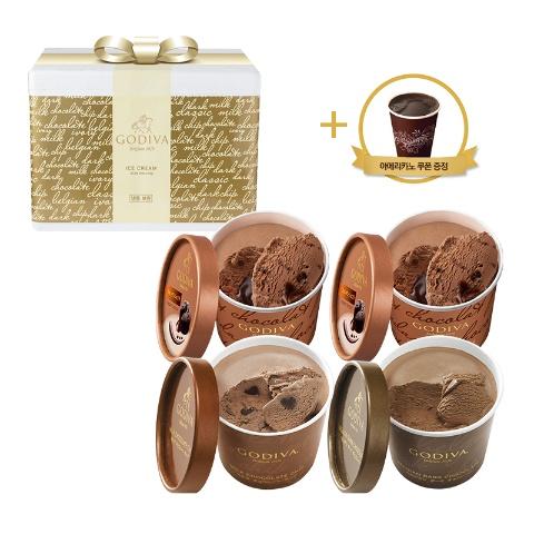 [NEW] 컵 아이스크림 4개 퐁당&다크&밀크 세트 (+아메리카노 쿠폰)